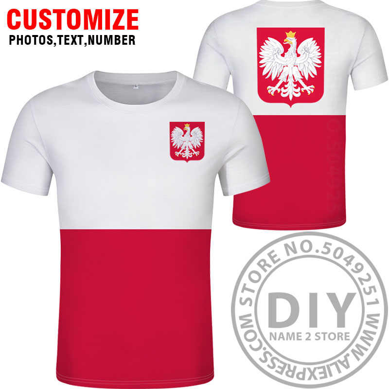 Polonia t shirt diy gratis nombre personalizado número poll camiseta Bandera Nacional pl República polska país polaco Universidad impresión foto ropa