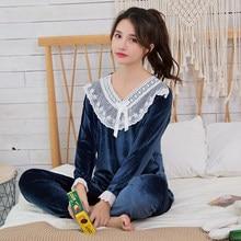5de2097bf6689 De terciopelo de Oro de las mujeres conjuntos de Pijamas de WAVMIT Otoño e  Invierno de manga larga ropa de dormir caliente chica.