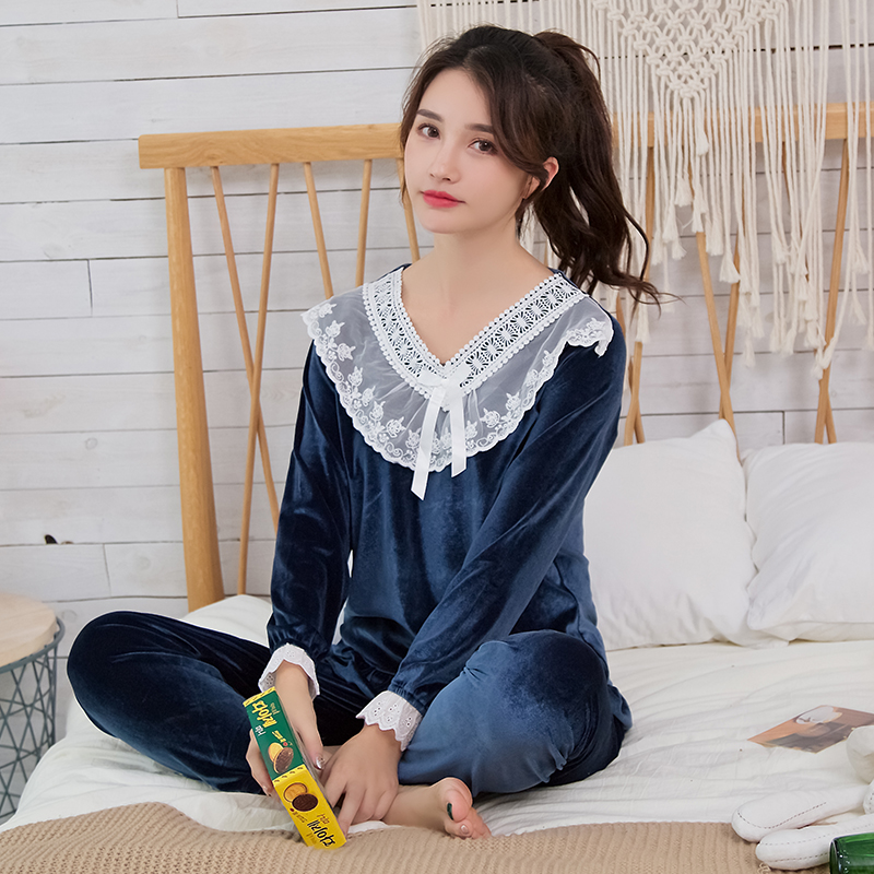 Gold Velvet Women   Pajamas     Sets   WAVMIT Autumn Winter Long Sleeve Sleepwear Warm Big Girl Pijamas Mujer Leisure   Pajamas   for Women