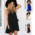 2017 Новая Мода Лето Женщины Dress Sexy Случайные Свободные Шифон Dress Глубокий V-образным Вырезом Черный Белый Рукавов Мини Beach Dress Одежда