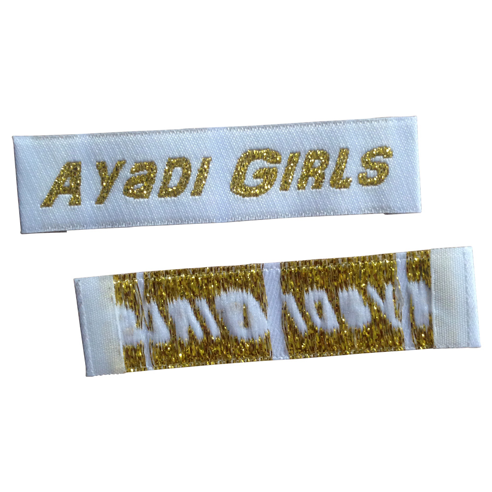 Customize shiny gold woven labels for clothes custom clothing tag fabric sewing garment tags with metal