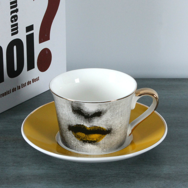 Whole European Fornasetti Cup Golden Coffee Lace Dish Louisa Bookface Wedding Birthday Gift Tea