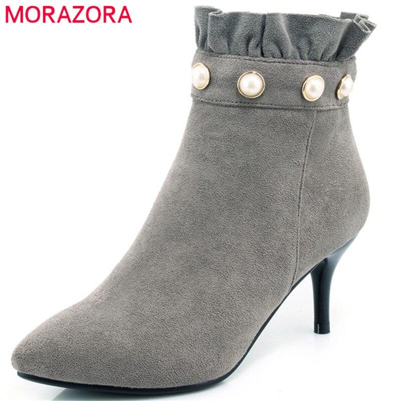 26b752ed205a Femme Flock Chaussures Pour En Cheville Mince Zipper Morazora Sexy Mode  Parti Talons Automne vert Femmes gris camel Lady Bottes ...
