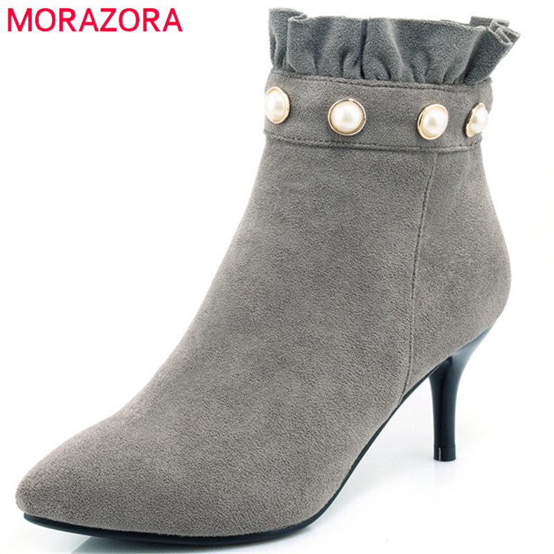 MORAZORA Thin heels boots female flock zipper solid fashion shoes woman ankle boots for women sexy lady party in autumn morazora elegant fashion shoes woman ankle boots for women high heels boots in spring autumn flock zip solid party size 34 43
