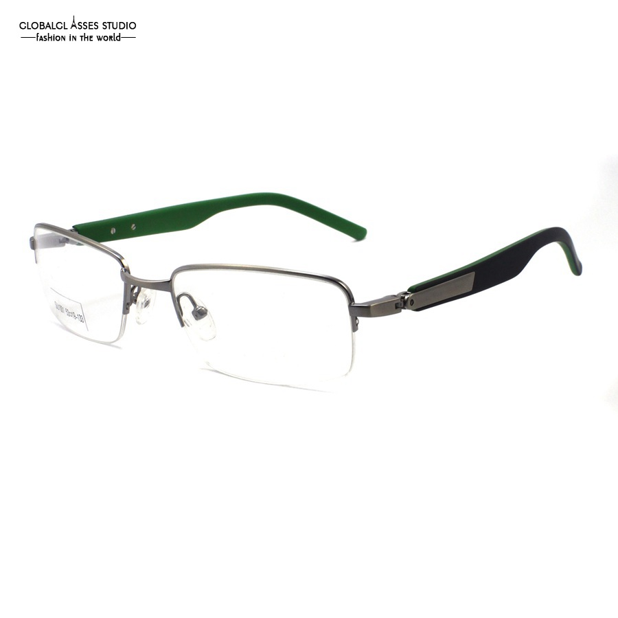 Strict Classic Business Half Rim Metal Eyeglasses Men Silver Slim Frame Black On Green Acetate Temple Optical Glasses Frame Su1001 C2-2 Colours Are Striking Apparel Accessories