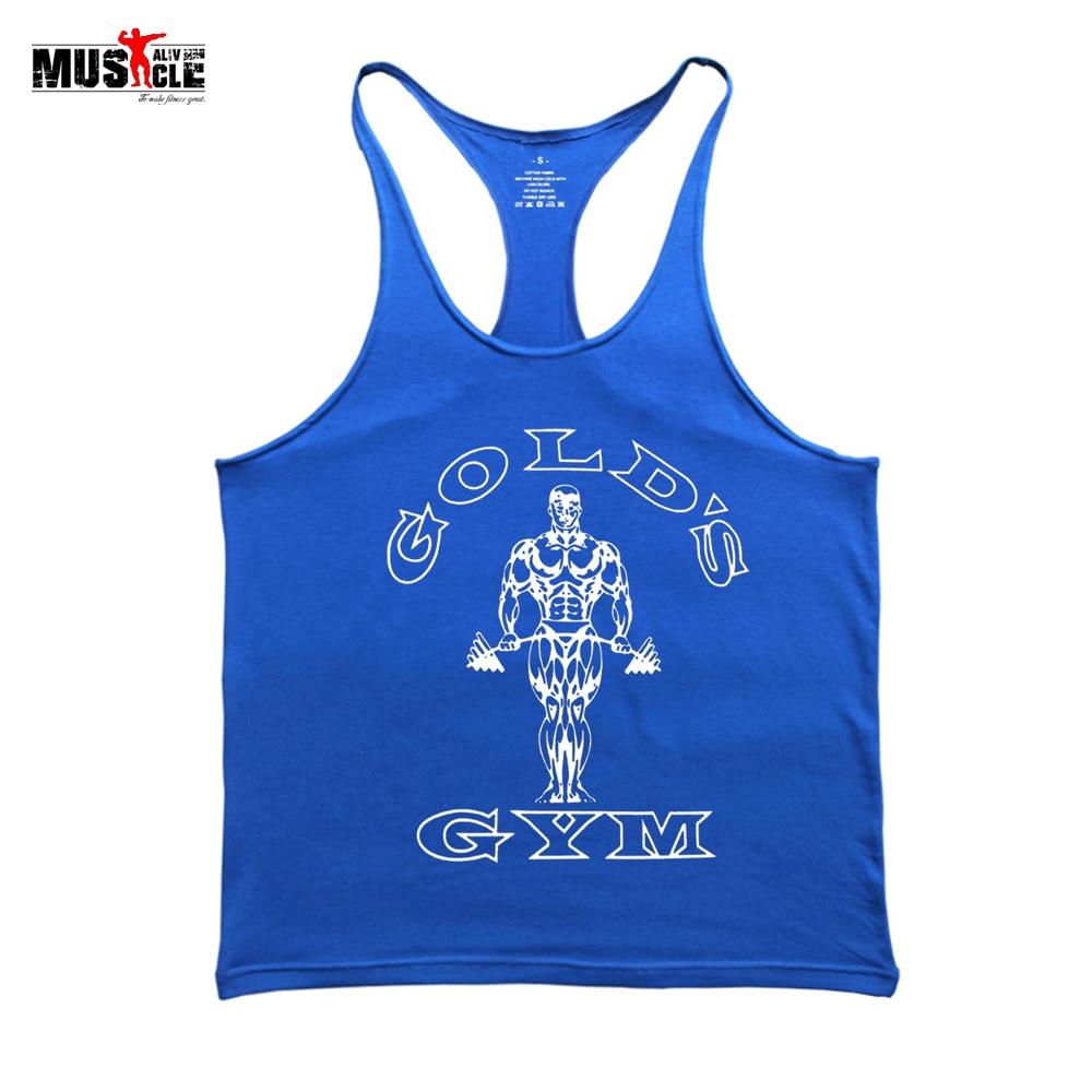 Sporto drabužių fitnesas Vyrai 2018 raumenų marškinėliai vyriškos liemenės treniruočių drabužiai vyrams medvilnės vyrų kultūrizmas Stringer Casual Sportswear Gold
