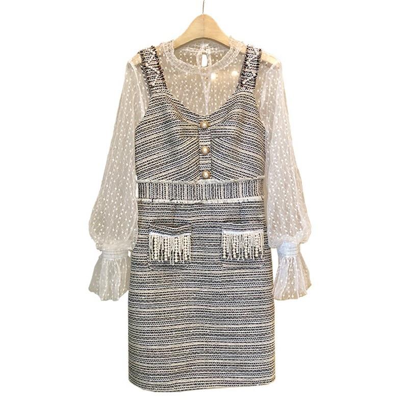 2018 Runway designer Autumn winter women small fragrance pearl buckle thick tweed vest dress + mesh top Dresses Vestidos robe