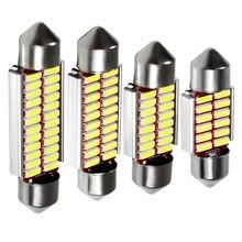 10 pces 31mm 36mm 39mm 41mm c5w c10w 12 16 20 24 smd 4014 lâmpada led canbus erro livre festão automóvel lâmpada interior do carro luz de casa