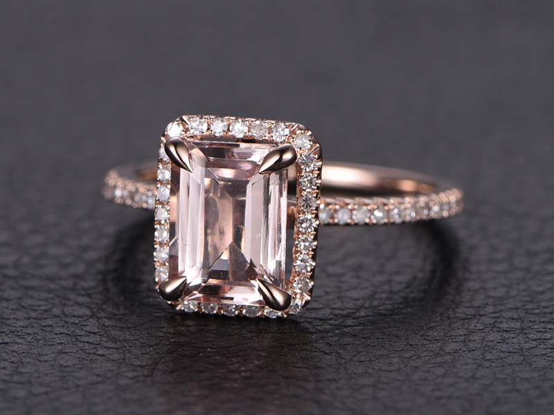 Myray 14k Rose Gold Natural Emerald Cut Pink Morganite