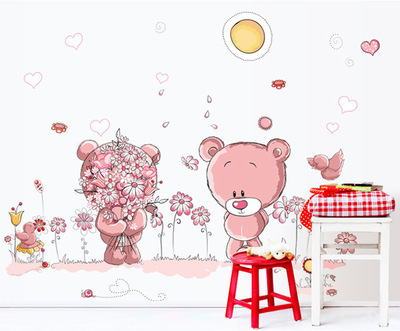 lovely cute bear wall stickers children room home decor baby shower adhesive for kids room