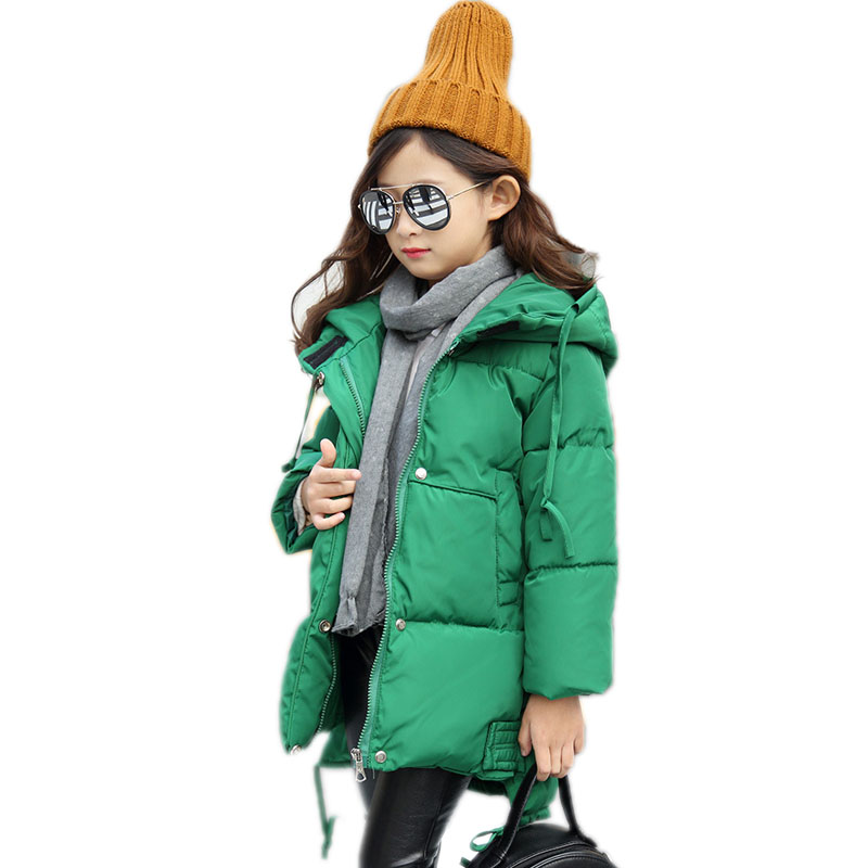 girls winter coat 2017 new children cotton outwear long kids winter jackets solid hooded children Thicken cotton-padded jacket winter new arrival women s cotton padded long coat fashion fur collar hooded winter warm outwear coat jacket