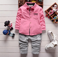 New Boys Clothing Set Autumn Fashion Cotton Solid Color Full Sleeve Children Coat + Striped Pants Baby Kids Clothing Sets Suit