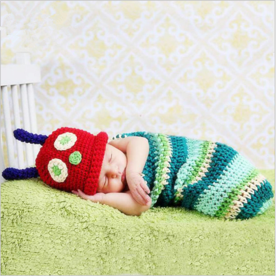 Cartoon caterpillar sleeping bags for newborns knitted baby boy ...