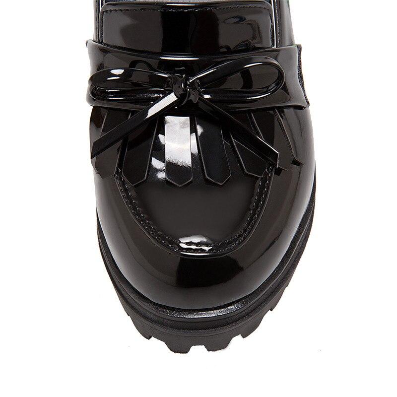Rond La Pour Sur Haut Slip Plate Odetina De Taille Talon Coins Chaussures 43 Noir rouge Style Oxford 2017 Mode Britannique Femmes Bout Plus Bowknot forme wwRq8OP