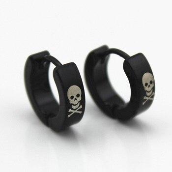 Black Stainless Steel Skull Hoop Earrings Women Men Huggie Loop Earring Small Round Circle Fashion Ear Jewelry Accessories circle