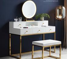 Dresser Nordic ins Lighted Makeup Table Bedroom Simple Postmodern White Paint Internet celebrity Makeup Table.