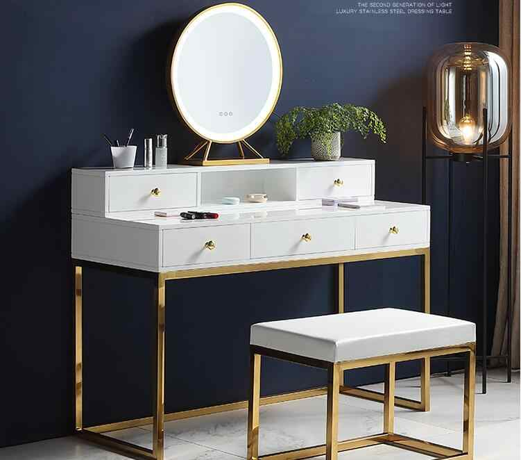 Dresser Nordic Ins Lighted Makeup Table Bedroom Simple Postmodern White Paint Internet Celebrity Makeup Table Dressers Aliexpress