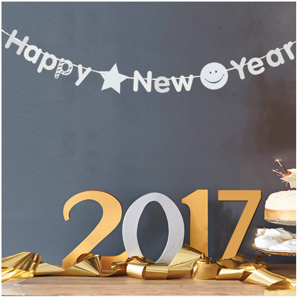 3m shining silver happy new year paper flag banner garland diy christmas new year decoration festive