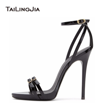 Women Strappy Heels Evening High Heel Black Patent Leather Sandals Open Toe Thin Heel Sexy Party Stiletto Shoes Big Size 2019