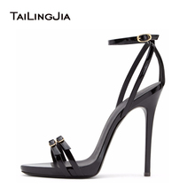Women Strappy Heels Evening High Heel Black Patent Leather Sandals Open Toe Thin Heel Sexy Party Stiletto Shoes Big Size 2018