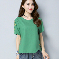 Women Elegant Embroidery Blouses Cotton Linen Ladies Office Wear Loose Shirts Short Sleeve O Neck Casual