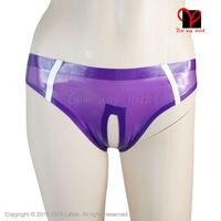 transparent Purple Sexy Latex Briefs open crotch trims strip Rubber crotchless shorts pants knickers Underwear KZ 033