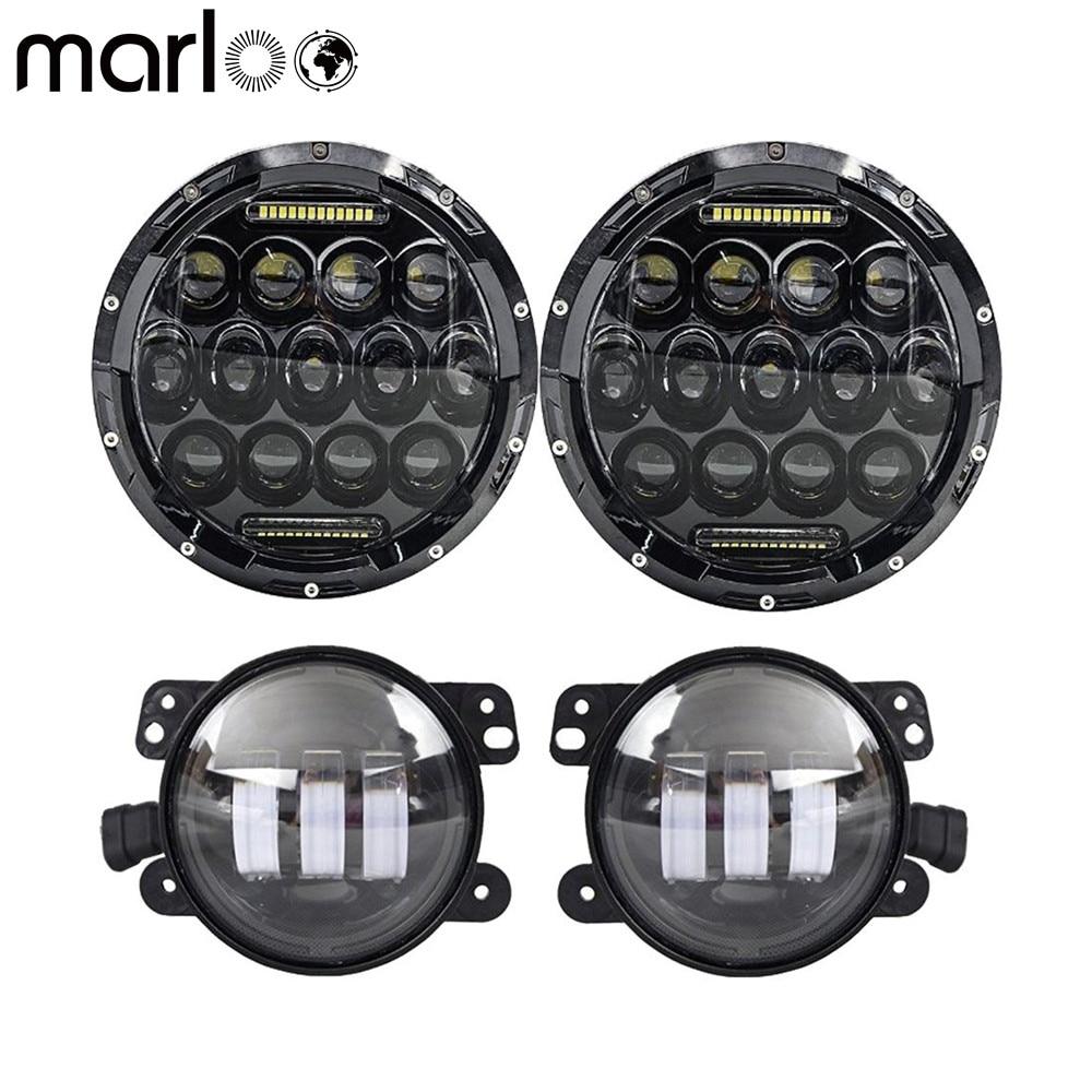 Marloo 7 Round 75W LED Headlights 4 30W LED Fog Lights For 2007-2017 Jeep Wrangler JK TJ LJ Sport Rubicon Sahara Unlimited