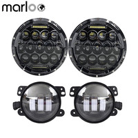 Marloo 7 Round 75W LED Headlights 4 30W LED Fog Lights For 1997 2017 Jeep Wrangler