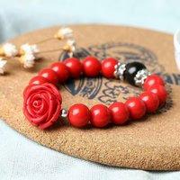 Natural Cinnabar Prayer obsidian Beads Tibetan Buddhist carving Lucky rose pendant Bracelet Rosary Bangle Jewelry