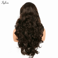 Sylvia Long Hair Natural Hairline Dark Brown Synthetic Lace Front Wigs 6 Bouncy Curly Heat Resistant