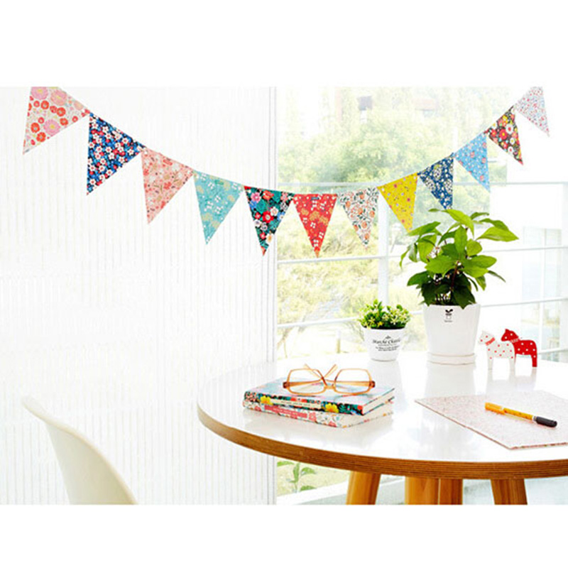 12 Flags 2m Personality Wedding Bunting Flags Colorful Vintage Party Baby Show Garland Decor Holiday Supplies Party Accessories