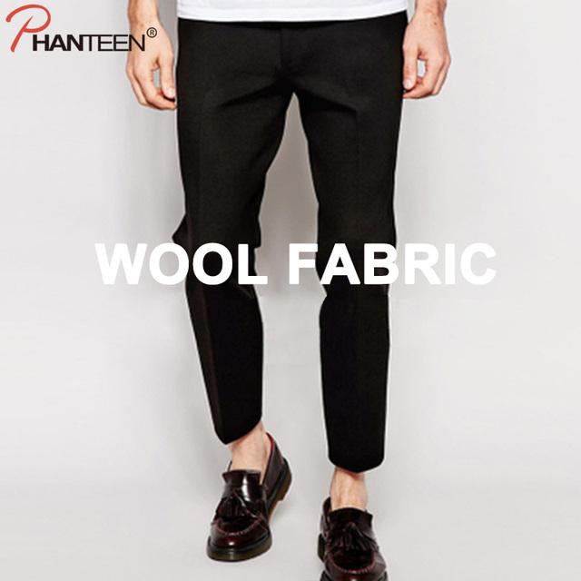Phanteen otoño de lana pantalones de traje de hombre de estilo europeo y americano pantalones noveno pantalones de moda casual de negocios de la vendimia ropa de los hombres