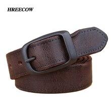 Unisex New Sang Trọng chất lượng Cao Thắt Lưng Thiết Kế Người Xưa Cà Phê Đen genuine leather Belt for men và phụ nữ Eo belt nhanh tàu