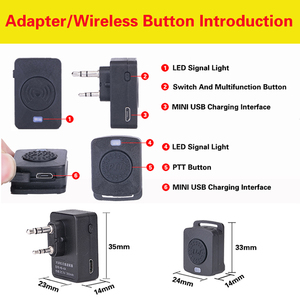 Image 4 - Walkie Talkie Hands free Bluetooth Headset K/M Type Earphone Handheld Two Way Radio Wireless Headphones For Motorola Baofeng