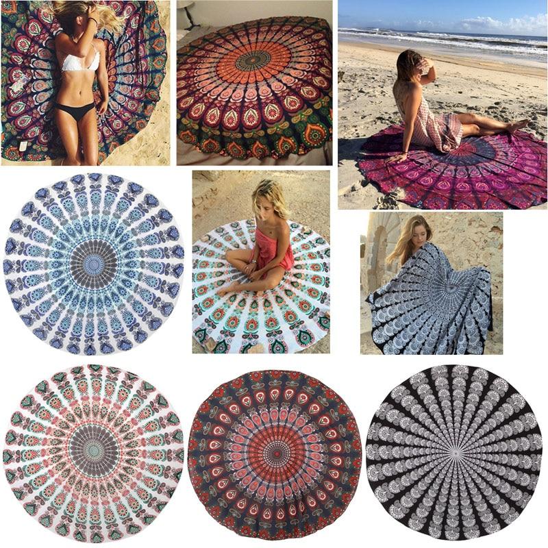 Round Beach Cover Up Pareo Bikini Boho Hippie Summer Dress Swimwear Bathing Suit Power Source