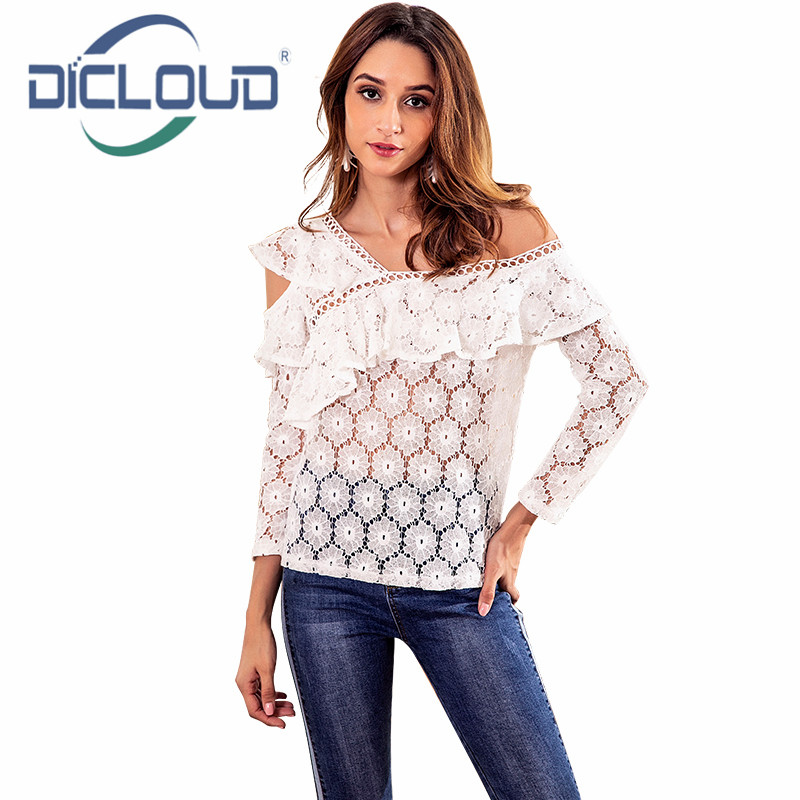 a033c108483 Dicloud One Off Shoulder Blouse Shirt Women Ruffle White Lace Blouse Women Long  Sleeve Hollow Out Elegant Women Autumn Blouses