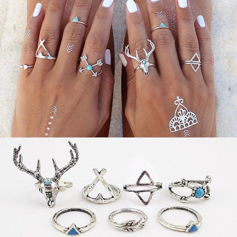 R026 7pcs/lot Vintage Ethnic Bohemian BOHO Ring Deer Anillos De Animales Bague Punk Women Midi Finger Knuckle Jewelry