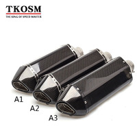 TKOSM 51mm Real Carbon Fiber Motorcycle Exhaust Pipe Motocross Muffler With DB Killer CB400 CBR For
