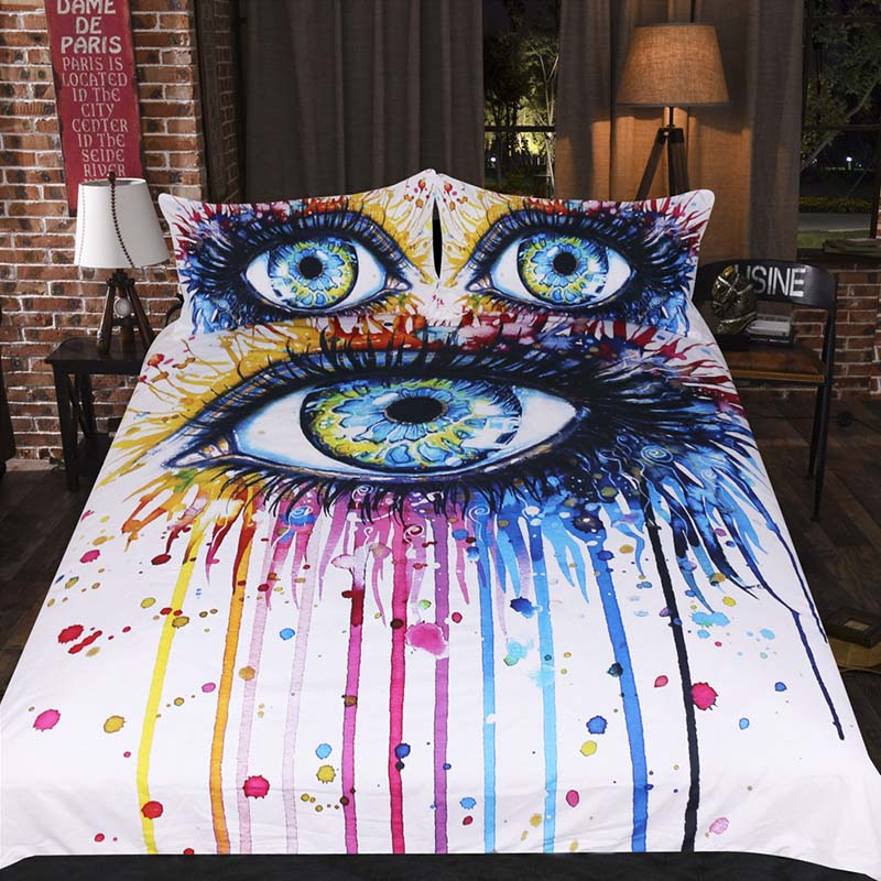 3d Comforter Bedding Set Duvet Cover with Pillowcases Eye Printed King Queen Size Bed Set 3pcs Watercolor White Bedclothes Sheet