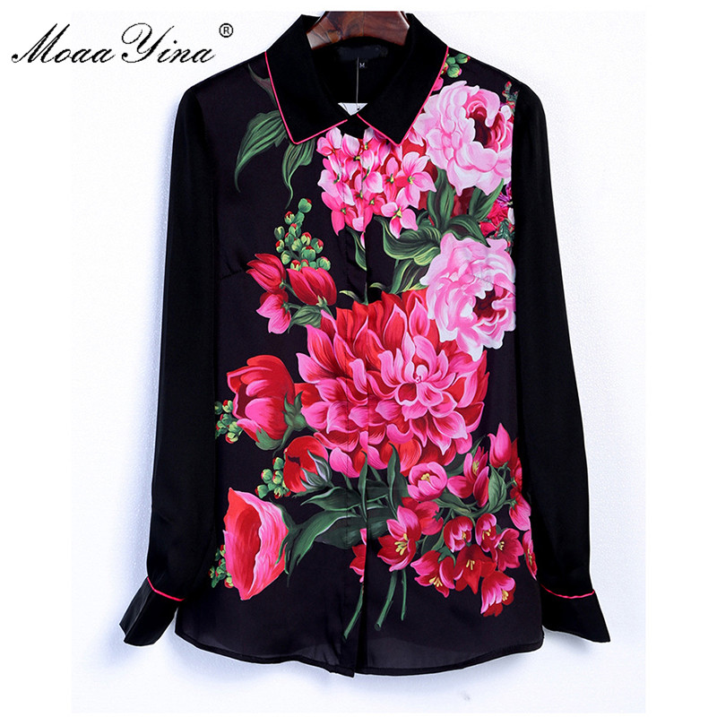 MoaaYina Fashion Designer Runway Shirt Spring Women 3XL Plus Size Long Sleeve Rose Print Blouse Casual Elegant Career Shirt