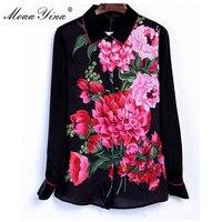 MoaaYina Fashion Designer Runway Shirt Spring Women 3XL Plus size Long sleeve Rose Print Blouse Casual Elegant Career Shirt