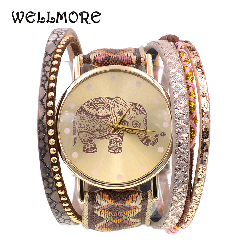 WELLMORE Women Watches leather bracelet watch fashion casual ribbon elephant quartz watches for women