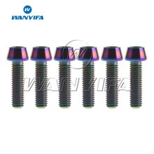 6pcs/set MTB Bicycle Titanium Stem Bolts M5x18mm Conical Cycling Handlebar Bo1lts Fixed Screws Bike Parts