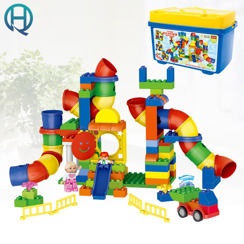 HuiMei Pipeline Playground DIY Model Big Building Blocks Bricks Baby Early Educational Learning Gift Toys for Kids Children educational toys kids models building kits blocks diy bricks set 5 5cm plant tree figure for children 6 years old toys learning