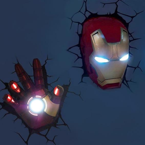 Marvel avengers Captain America Iron Man LED chevet chambre salon 3D créatif applique murale décorée de lumière veilleuse