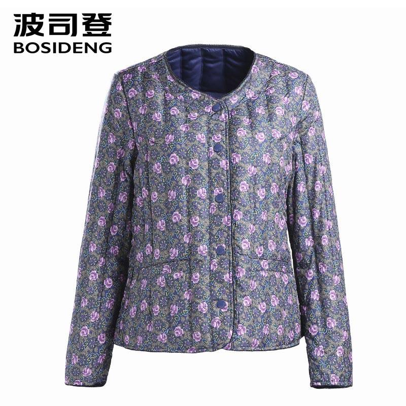 BOSIDENG femmes vêtements Printemps vers le bas manteau régulier veste ultra lumière fleur couleur motif slim liquidation vente GRANDE TAILLE B1501612
