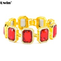 Top Fashion Luxury Iced Out Red Black Blue Stone Men's Hiphop Bracelet Bling Bling Gold Color Bracelet Men's Jewelry
