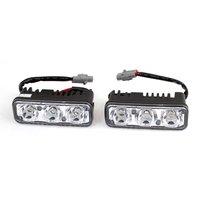 Car Vehicle DRL White 3 LED Daytime Running Lights Head Lamp 9W 2 Pcs