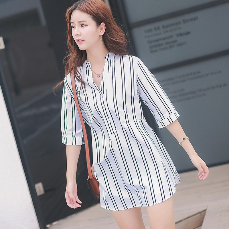 2019 Summer Women Striped Shirt Dress Casual Loose Dresses Fashion V Neck Button Half Sleeve Mini Dress Female Vestidos
