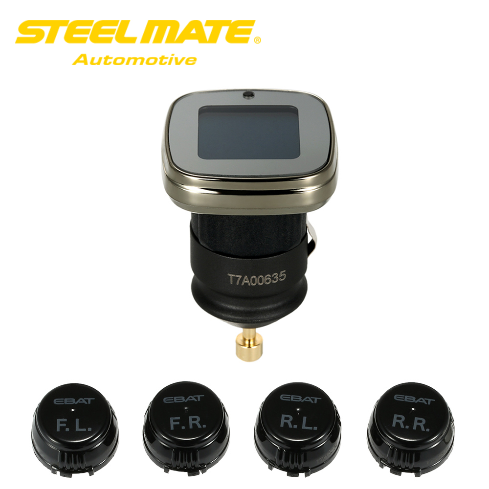 Steelmate ET-780AE DIY Wireless TPMS Tire Pressure Monitoring System with Adjustable LCD Display 4 Sensors Bar PSI Unit steelmate tp 11 tpms tire pressure monitoring system lcd 4 valve cap external sensor bar psi pressure unit wireless transmission